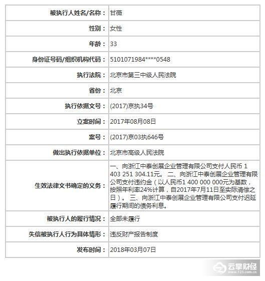 """中国""""好妻子""""甘薇首次被列入老赖名单!贷款14亿未还1.jpg"""