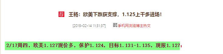 王杨:欧美如期反弹今日震荡,日内1.128继续多!